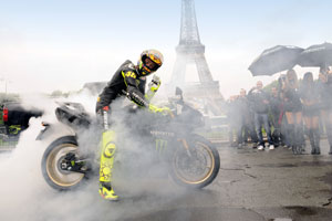 Rossi on a Monster Energy Yamaha YZF-R1 in Paris yesterday