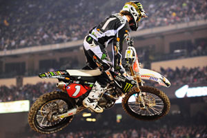 Lawrence in action at Anaheim Supercross earlier this year