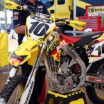 Suzuki put some hand guards on Cooper's ride for the mud.