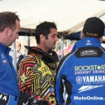Marmont debriefs with the CDR Rockstar Yamaha team.
