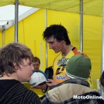Boppo meets some fans at the Suzuki tent.