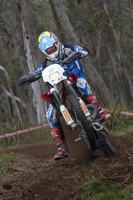The two-strokes offer snappy bursts of power in the tight sections, as Cru Halliday demonstrates for MotoOnline.