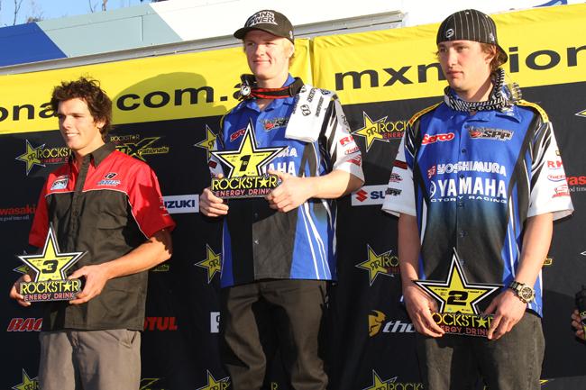 Gibbs topped the podium ahead of Serco Yoshimura Yamaha teammate Jake Moss and Kiwi Justin McDonald. Image: Alex Gobert.