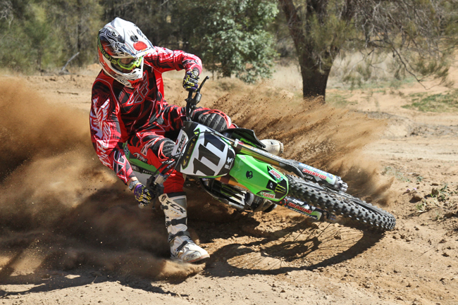 The Monster Energy KX450F is customised to Ferris' wishes using countless resources. Image: Alex Gobert.