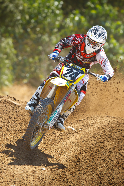 Gobert puts Metcalfe's test bike through its paces at Milestone Motocross Park. Image: Simon Cudby.