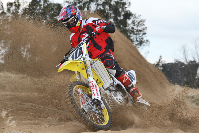 MotoOnline.com.au had former national champion Luke George test Cody Cooper's factory Rockstar Motul Suzuki. Image: Alex Gobert.