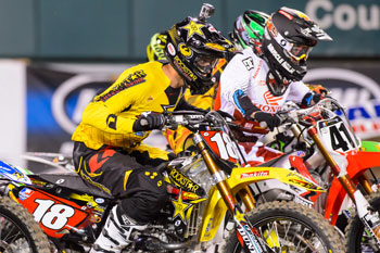 Davi Millsaps maintains the American Supercross lead heading into St. Louis. Image: Simon Cudby.