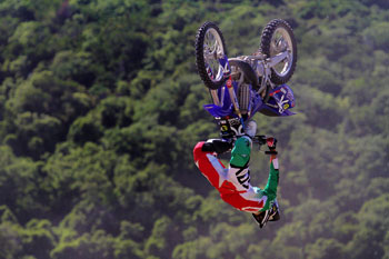 Tyrone Gilks flying high at NZ Farm Jam earlier this year.