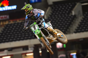 Ryan Villopoto moved himself within 12 points of the 450SX series lead with his St. Louis win. Image: Simon Cudby.