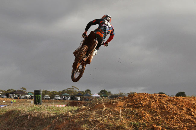 Luke Clout scored his first-ever MX2 overall win at Murray Bridge.