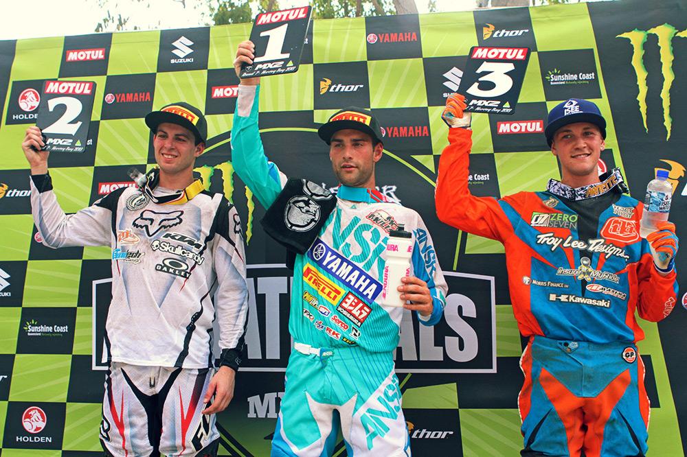 Kale Makeham and Kade Mosig joined Styke on the MX2 podium. Image: Simon Makker/Makkreative.com.