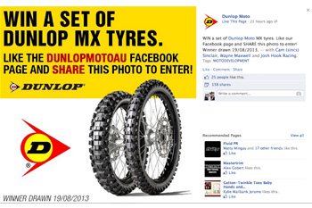 Dunlop's promotion aims to engage its Facebook fan base.