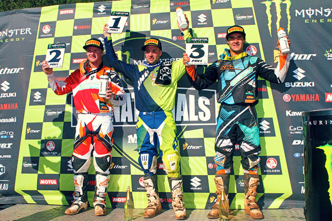 Moss, Kirk Gibbs and Todd Waters filled the MX1 podium. Image: Simon Makker/Makkreative.com.