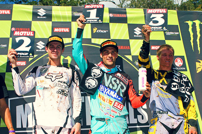 Styke, Kale Makeham and Brock Winston made up the MX2 rostrum. Image: Simon Makker/Makkreative.com.