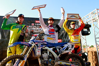 Styke, Gavin Faith and Ryan Marmont made up the SX-Lites podium. Image: Grant Reynolds/FiftySix Clix.