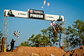 Luke Styke celebrates his SX-Lites main event victory. Image: Grant Reynolds/FiftySix Clix.