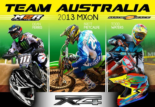 Team Australia riders all wearing M2R at 2013 Motocross of Nations