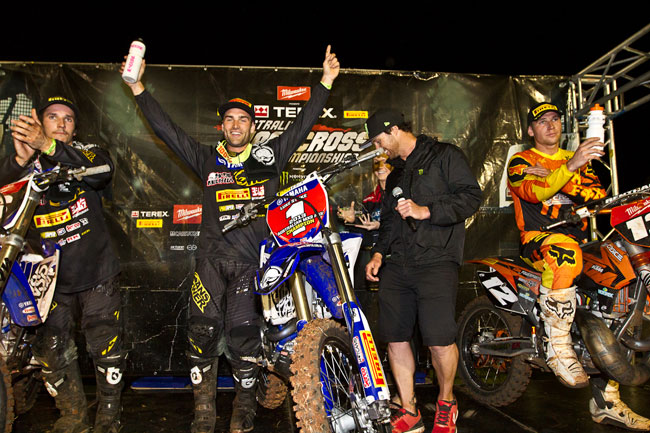 Luke Styke added the SX-Lites title to his MX2 outdoor crown, winning Tooowoomba from Brenden Harrison and Luke Arbon. Image: Grant Reynolds/FiftySix Clix.