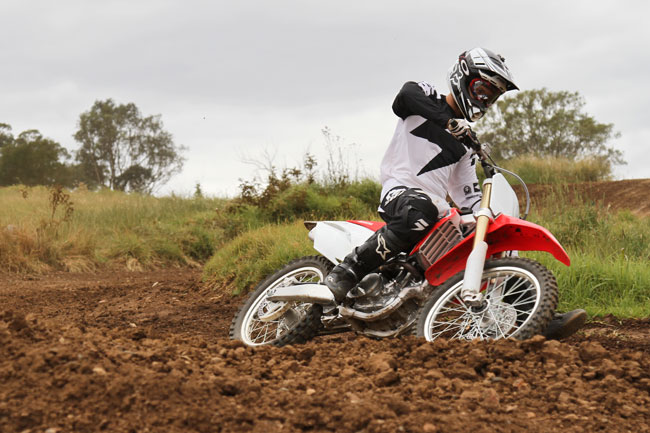 Andrew Spence aboard the ultra-agile 2014 CRF250R. Image: Alex Gobert.